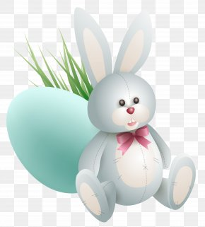 Transparent Easter Bunny With Egg And Grass Clipart Picture - Easter Bunny Easter Egg Clip Art PNG