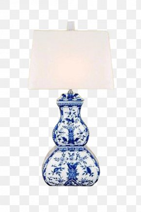 Blue And White Porcelain Table Lamp - Lamp Blue And White Pottery Ceramic Lighting PNG