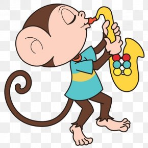 Cartoon Monkey Blowing Su Na - Saxophone Photography Royalty-free Illustration PNG