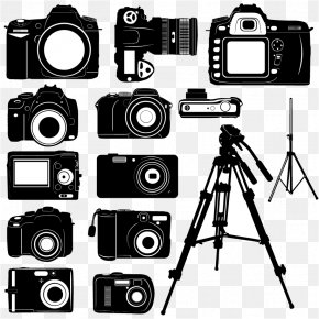 Black And White Digital Camera Silhouette Vector Material, - Digital Camera Silhouette PNG
