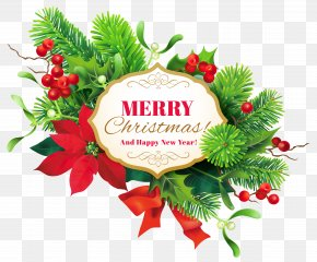 Merry Christmas Decor Clipart Image - Christmas Decoration New Year Clip Art PNG