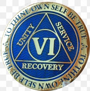 Gold - Alcoholics Anonymous Sobriety Coin Gold Plating PNG