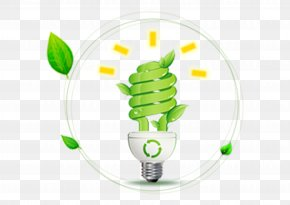 Green Light Bulb - Incandescent Light Bulb Electricity Energy Conservation PNG
