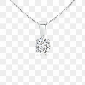 Necklace - Solitaire Necklace Prong Setting Diamond Silver PNG