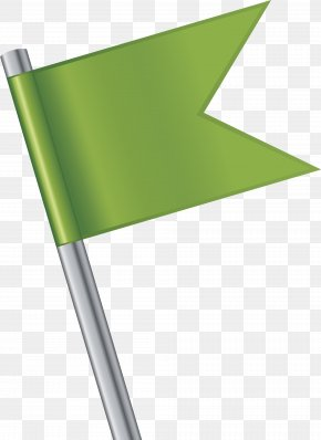 Hand Painted Green Flag Flagpole - Flagpole PNG