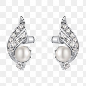 Rakhi Brother Sister - Pearl Earring Jewellery Costume Jewelry Silver PNG