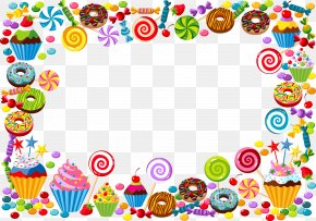 Vector Candy Border - Candy Cane Bonbon Gummy Bear PNG