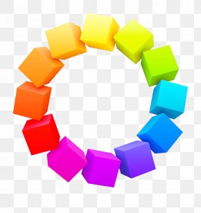 Rainbow Square Circle Vector - Three-dimensional Space Color 3D Computer Graphics Cube PNG