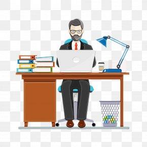 Employment Job - Desk Cartoon Furniture Table Computer Desk PNG