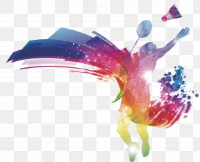 People Playing Badminton - Badminton Poster Wedding Invitation PNG