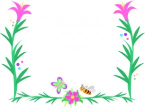 Flower Cliparts Frame - Flower Picture Frame Clip Art PNG