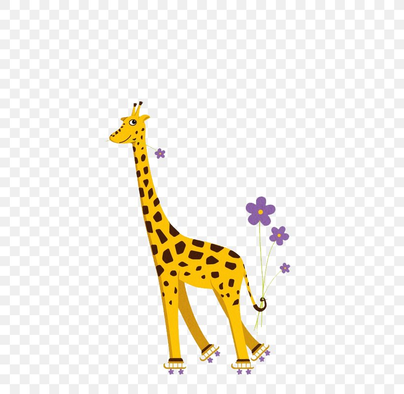 Giraffe T-shirt Roller Skating Humour Ice Skating, PNG, 800x800px, Giraffe, Art, Cartoon, Gift, Giraffidae Download Free