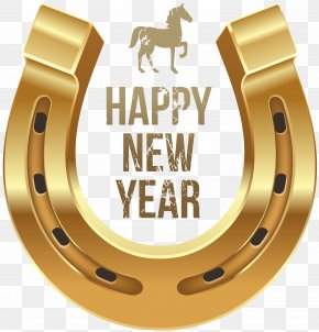 Happy New Year With Horse And Horseshoe PNG Clipart - Horse New Year's Day Wish Clip Art PNG