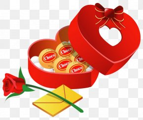 Chocolate And Roses - Valentine's Day Gift Heart Clip Art PNG