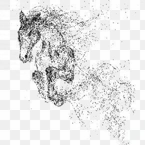 Hand Painted Ink Flow Running Horse - Horse PNG