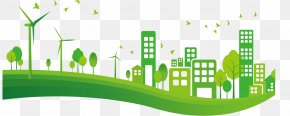 Promotional Material Green City Background - City Euclidean Vector Green Clip Art PNG