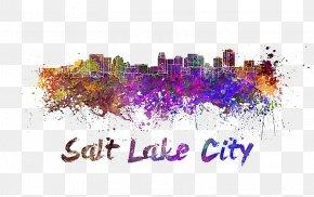 Salt Lake Domain Illustration - Skyline Watercolor Painting Stock Illustration PNG