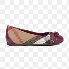 Burberry Plaid Large Children's Casual Flat Shoes - Ballet Flat Shoe Purple Pattern PNG