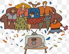 Hand-painted Cartoon Family Watching TV Vector - Cartoon Clip Art PNG