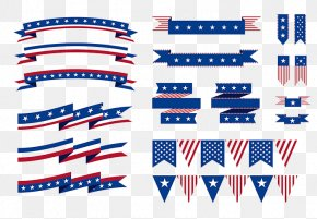 American Flag Hanging From Ribbons And Elements - Flag Of The United States Ribbon PNG