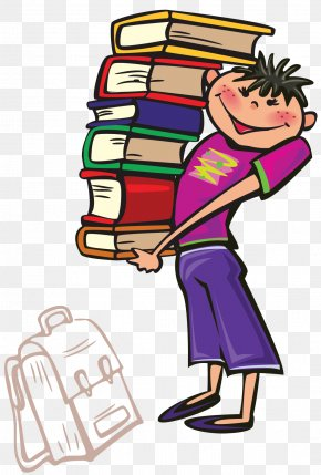 Cartoon Boy Holding A Pile Of Books - Book Free Content Clip Art PNG