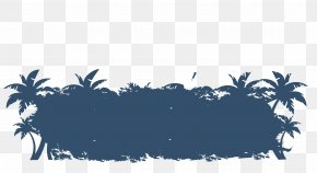 Vector Blue Coconut Grove - Coconut Grove Euclidean Vector PNG