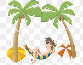 Sea Hammock - Cartoon Beach Clip Art PNG