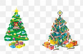 Christmas Tree Decoration Stock Image - Santa Claus Christmas Tree Illustration PNG
