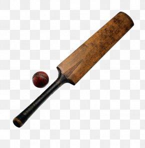 Wooden Cricket Bat And Cricket - Cricket Bat Stump Cricket Ball Batting PNG