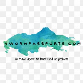 Passport Travel Quotes Sayings - Water Logo Font Turquoise PNG