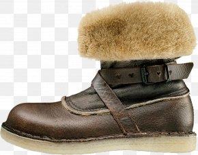 Camel Leather Pumps - Snow Boot Shoe Walking Fur PNG