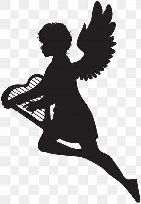 Angel With Harp Silhouette Clip Art Image - Silhouette Clip Art PNG
