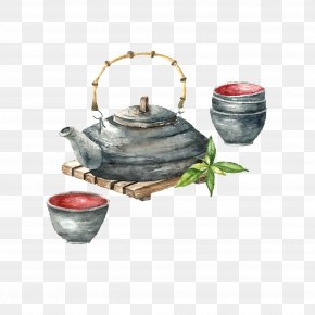 Hand-painted Tea Set Free To Pull - Japanese Cuisine Tea Sushi Watercolor Painting PNG
