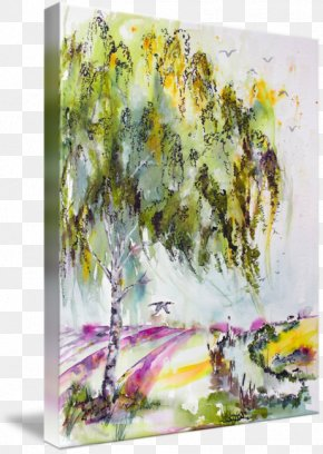 Ink Watercolor Painting - Watercolor Painting Lavender Fields Art PNG