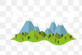 Vector Cartoon Mountains - Summer Illustration PNG