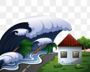 Decorative Illustration Of Flood And Tsunami - Tsunami Royalty-free Stock Photography Clip Art PNG