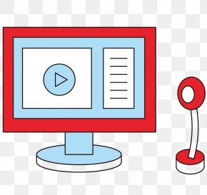 Vector Cartoon Red Computer Video Chat - Computer Adobe Illustrator Clip Art PNG