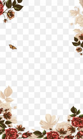 Hand-painted Flowers Border - Poster Icon PNG