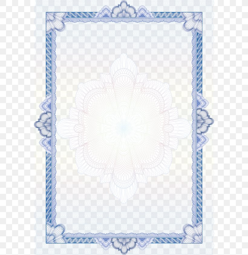 Academic Certificate Diploma Ornament Guilloché, PNG, 598x842px, Academic Certificate, Area, Blue, Diploma, Ornament Download Free