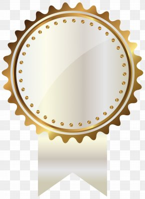White And Gold Seal With Ribbon Clipart Image - Gold Clip Art PNG