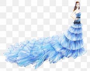 Beautiful Hand-painted Blue Wedding Dress - Gown Dress Fashion Illustrator Illustration PNG