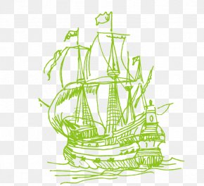 Hand-painted Traditional Sailing - Line Ship Euclidean Vector PNG