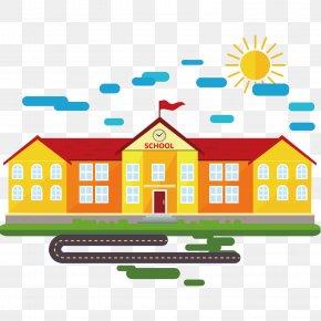 School Building Vector Material - School Cartoon Classroom PNG
