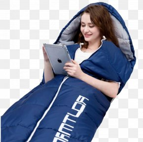 Play Tablet PC In A Sleeping Bag Woman - Sleeping Bag Camping Outdoor Recreation Child PNG