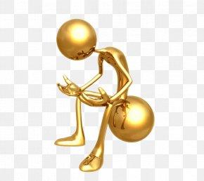 3D Gold Villain - Stick Figure Gold Wallpaper PNG