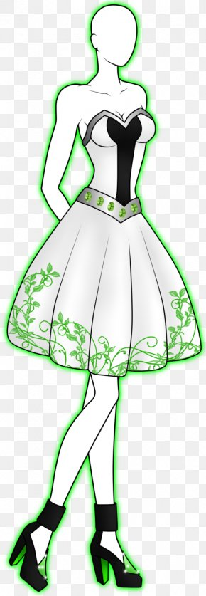 Dress - Green Cartoon Dress White PNG