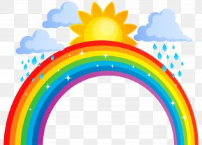 Rainbow Sun And Clouds Transparent Clip Art Image - Rainbow Clip Art PNG