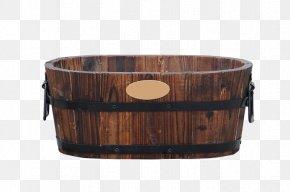 Carbonized Wood Oval Flower Bucket - Wood Barrel Carbonization PNG