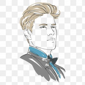 Hand-painted Man - Euclidean Vector Hairstyle PNG