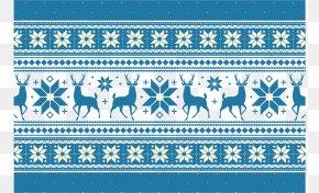 Blue Christmas Pattern - Reindeer Christmas Computer File PNG